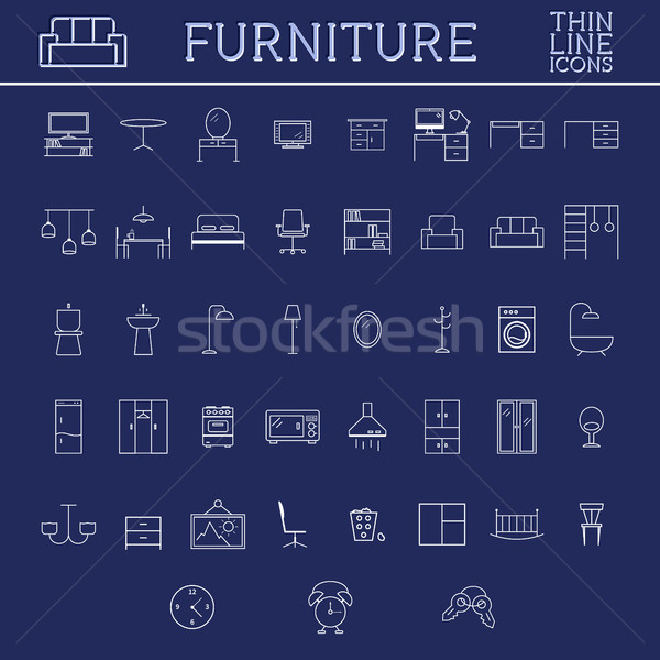 Stock photo: Set of furniture outline icons. Thin line design. Home elements and symbols on dlue background.
