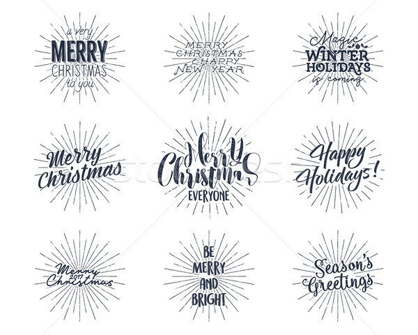 Set of Christmas , New Year 2017 lettering, wishes, sayings and vintage labels. Season's greetings c Stock photo © JeksonGraphics