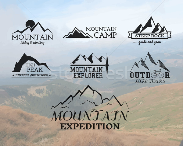 Set of Summer mountain explorer camp badge, logo and label templates. Travel, hiking, climbing style Stock photo © JeksonGraphics