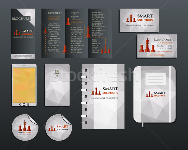 Business corporate branding identity set. Brochure mobile device, business card, label, brand book i Stock photo © JeksonGraphics