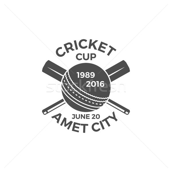 Cricket cup emblem and design elements. tournament logo . stamp. Sports symbols with gear, equipment Stock photo © JeksonGraphics
