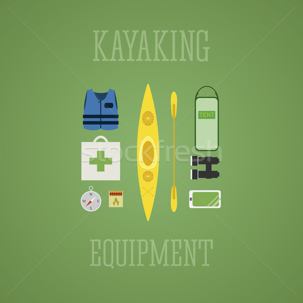 Kayaking equipment icons set. Kayak illustration on a multicolor design. With tent, compass, mobile  Stock photo © JeksonGraphics
