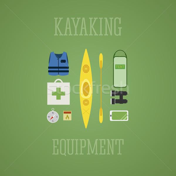 Kajakozás felszerlés ikon szett kajak illusztráció terv Stock fotó © JeksonGraphics