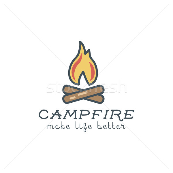 Camping logo design with typography and travel elements - campfire. Vector text - make life better.  Stock photo © JeksonGraphics