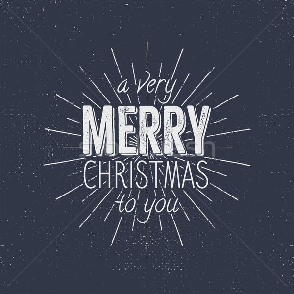 Vidám karácsony tipográfia felirat ünnep kívánság Stock fotó © JeksonGraphics
