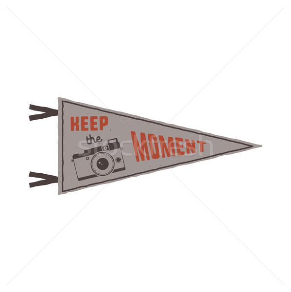 Keep the moment pennant. Flag pendant design in retro colors style. Drawing for prints on t-shirts,  Stock photo © JeksonGraphics