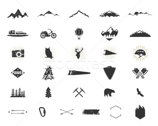 Outdoor adventure silhouette icons set. Climb and camping shapes collection. Simple black pictograms Stock photo © JeksonGraphics