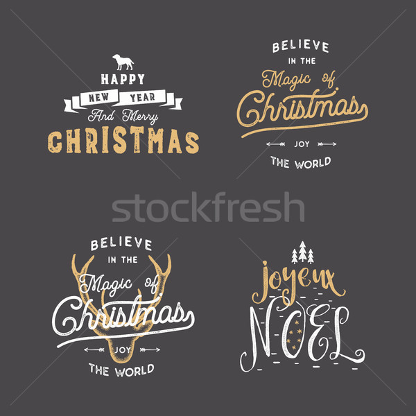 Merry Christmas typography quotes, wishes set. Sunbursts, ribbon and xmas noel elements, icons. New  Stock photo © JeksonGraphics
