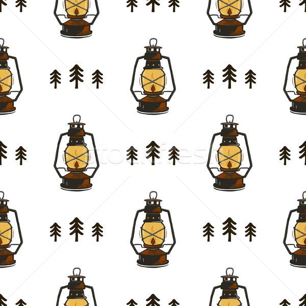 Retro tábor végtelen minta lámpások fák klasszikus Stock fotó © JeksonGraphics
