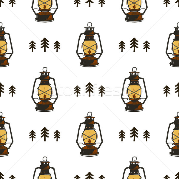 Retro kamp lantaarns bomen vintage Stockfoto © JeksonGraphics