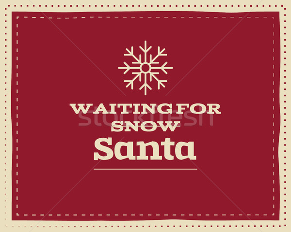 Christmas unique funny sign, quote background design for kids - waiting snow. Nice bright palette. R Stock photo © JeksonGraphics