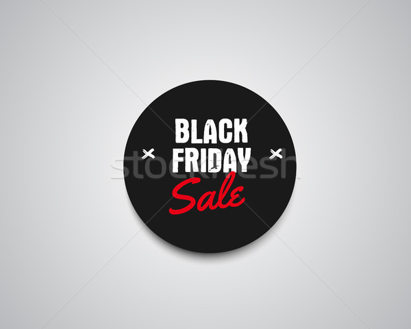 Black Friday sale black tag, round banner, advertising button, label, badge design with shadow. Holi Stock photo © JeksonGraphics