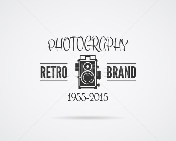 Vintage fotografii odznakę etykiety monochromatyczny projektu Zdjęcia stock © JeksonGraphics