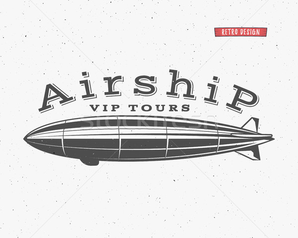 Vintage airship background. Retro Dirigible balloon vip tours label template. Steampunk vector desig Stock photo © JeksonGraphics