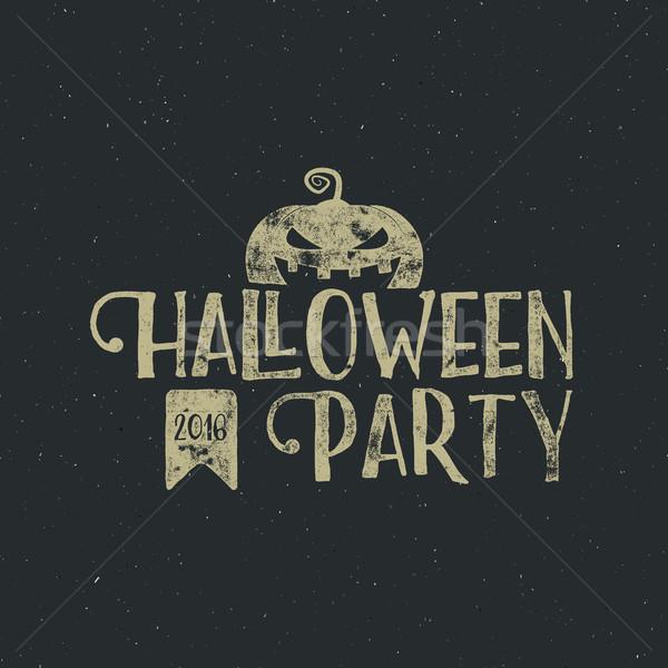 Halloween 2016 parti etiket şablon kabak Stok fotoğraf © JeksonGraphics