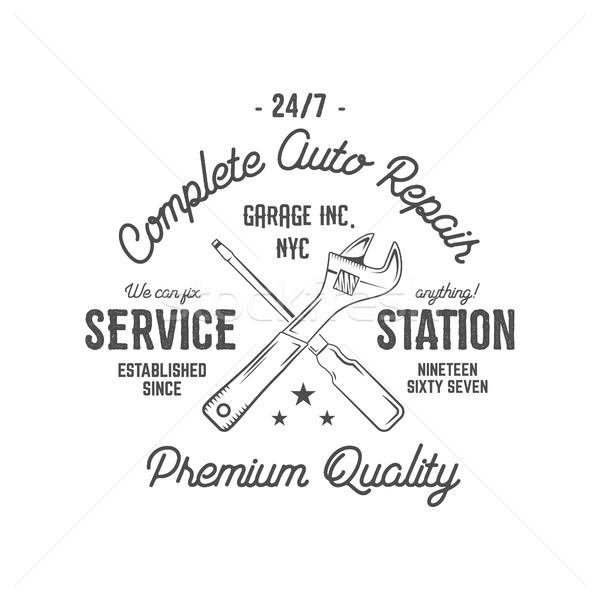 Service station vintage label, tee design graphics, complete auto repair  typography print. Custom t Stock photo © JeksonGraphics