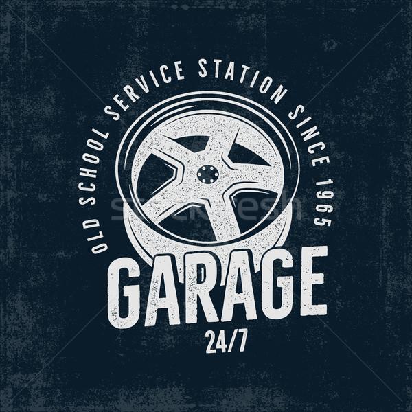 Garagem velho escolas serviço estação etiqueta Foto stock © JeksonGraphics