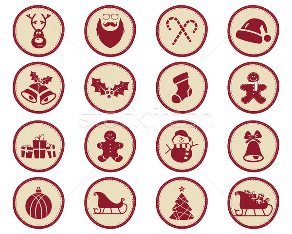 Christmas winter Badges and Design Elements with holiday symbols for kids - snowman, santa, sweets a Stock photo © JeksonGraphics