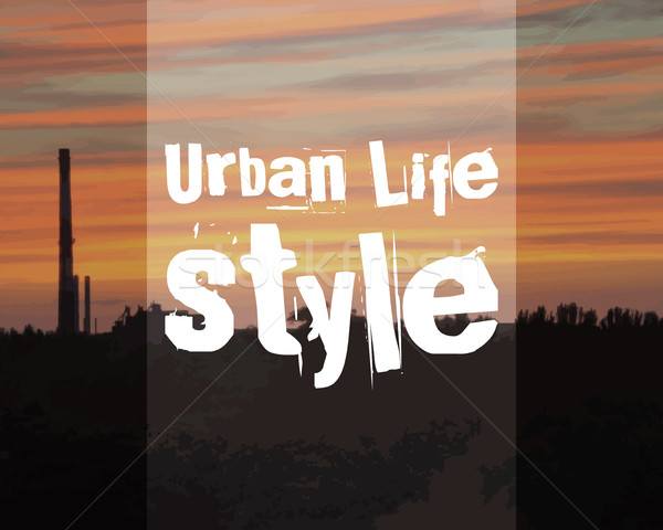 Urban lifestyle poster banner. City landscape on sunset background. Trendy unusual theme. Vector Stock photo © JeksonGraphics