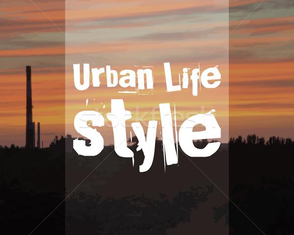 Városi életstílus poszter szalag város tájkép Stock fotó © JeksonGraphics