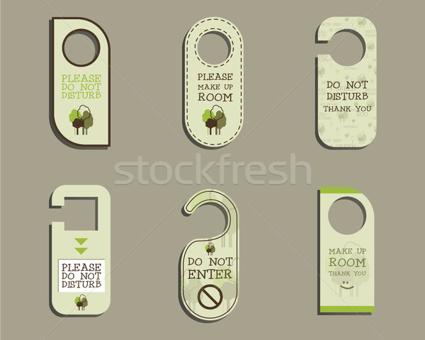 Organic Door knob or hanger sign set- do not disturb design. With Eco and bio logo template. Vector Stock photo © JeksonGraphics