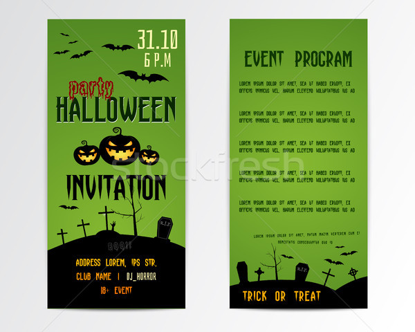 Happy Halloween Greeting Cards, Flyer. Vector Illustration. Party Invitation Design with Emblem. Typ Stock photo © JeksonGraphics