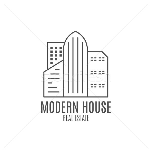 Modernes maison conception de logo immobilier icône info Photo stock © JeksonGraphics
