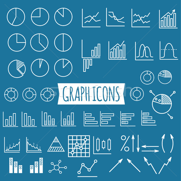 Business charts. Set of thin line graph icons. Outline Stock photo © JeksonGraphics