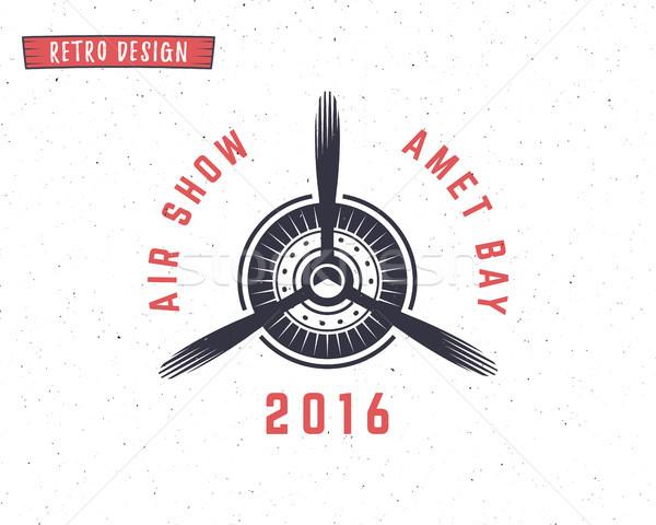 Repülőgép propeller embléma kétfedelű repülőgép címke retro Stock fotó © JeksonGraphics
