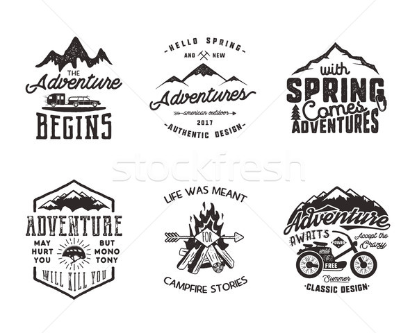 Hiking adventure and outdoor explorer typography labels set. Outdoors activity inspirational quotes. Stock photo © JeksonGraphics