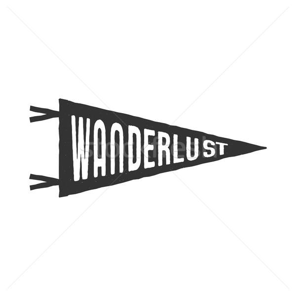 Wanderlust pennant template. Vintage Hand drawn monochrome design. Best for t-shirts, travel mugs an Stock photo © JeksonGraphics