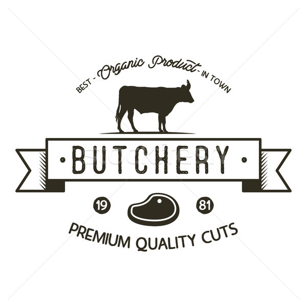 Butchery shop logo template. Old style badge design with silhouette cow symbol and typography elemen Stock photo © JeksonGraphics