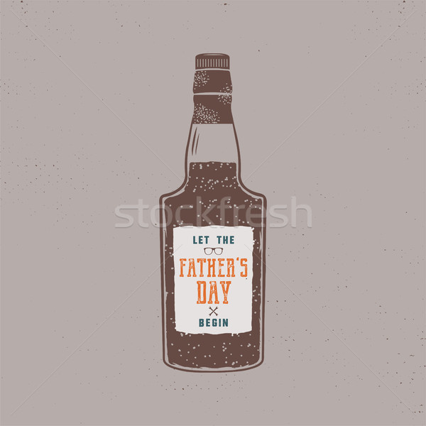 Fathers day label design. Rum bottle with sign - Let Fathers day begin. Funny holiday concept in ret Stock photo © JeksonGraphics