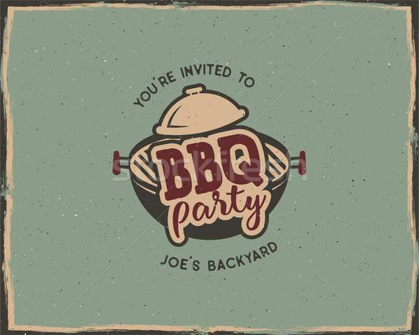BBQ party typography poster template in retro old style. Offset and letterpress design. Letter press Stock photo © JeksonGraphics