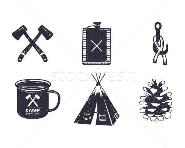 Vintage avventura escursioni camping forme Foto d'archivio © JeksonGraphics