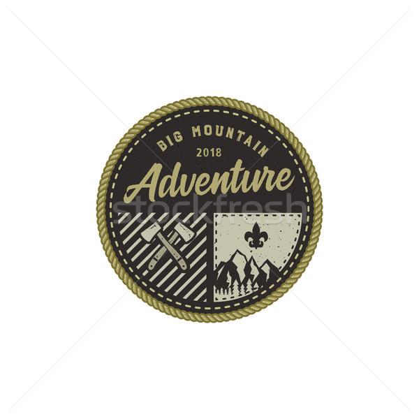 Foto stock: Ao · ar · livre · distintivo · grande · montanha · aventura
