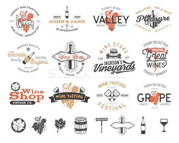 Vin logos étiquettes Winery magasin Photo stock © JeksonGraphics