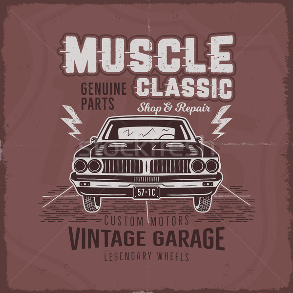 Stockfoto: Vintage · muscle · car · ontwerp · klassiek