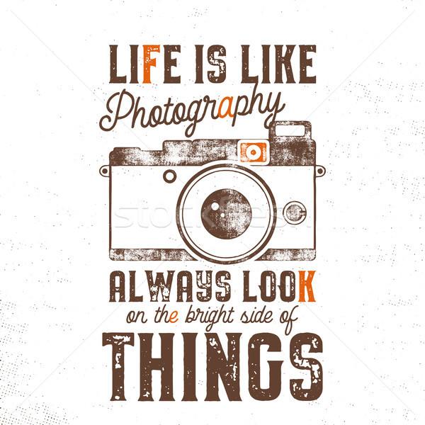Tipográfia poszter öreg stílus kamera idézet Stock fotó © JeksonGraphics
