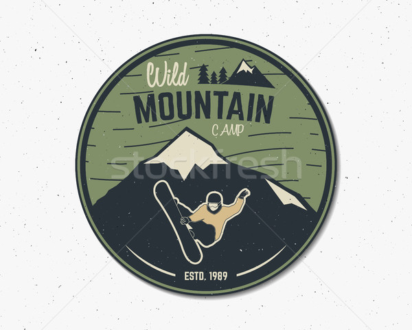 Mountain camp vintage explorer label. Outdoor adventure logo design. Travel hand drawn and hipster i Stock photo © JeksonGraphics