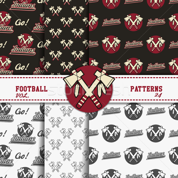Stock photo: Set of american football patterns. Usa sports seamless background collection. Sport wallpaper with b