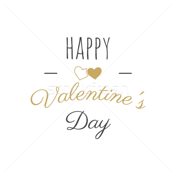 Stock photo: Happy Valentines Day vector lettering. Typography photo overlay, hand drawn text design label, Greet