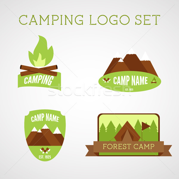 Set of outdoor adventure badges and campsite logo emblems. Summer 2015 stickers. Stock photo © JeksonGraphics