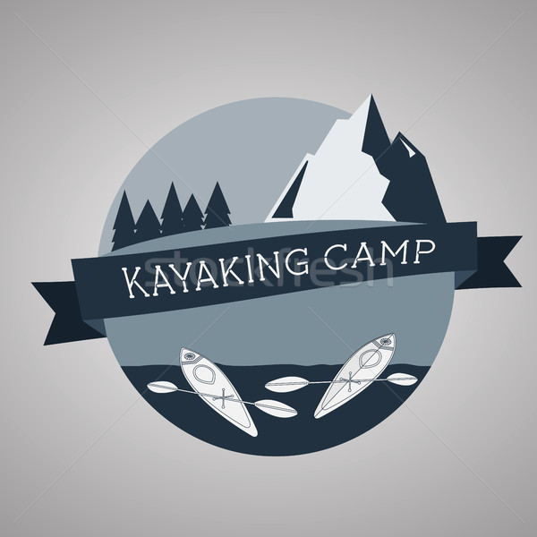 Kayaking camp logo. Expedition label and sticker. Unusual design. Summer outdoor adventures. Stock photo © JeksonGraphics