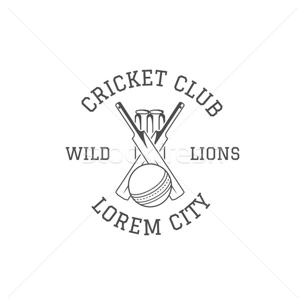 Cricket club emblem and design elements.   logo .  patch. Sports stamp with  gear, equipment - bat,  Stock photo © JeksonGraphics