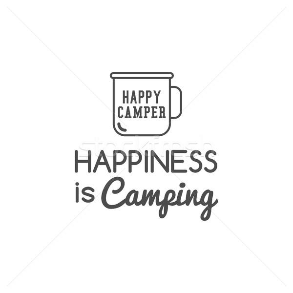 Camping logo design tipografia viaggio elementi campo Foto d'archivio © JeksonGraphics