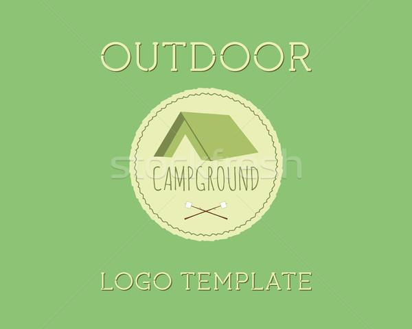 Adventure Outdoor Tourism Travel Logo Vintage Labels design vector templates. Campground, campsite.  Stock photo © JeksonGraphics