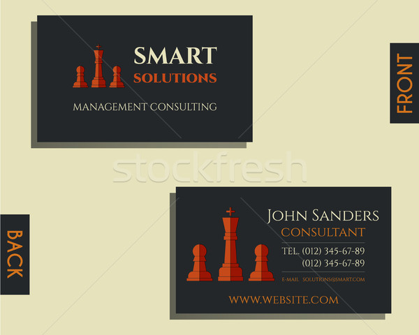 Business and management consulting visiting card template. Chess Smart solutions design with company Stock photo © JeksonGraphics