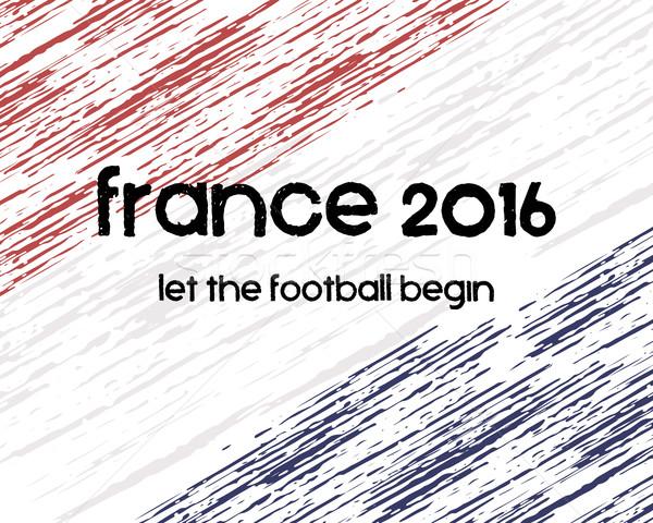 Frankrijk 2016 voetbal poster retro stijlvol Stockfoto © JeksonGraphics