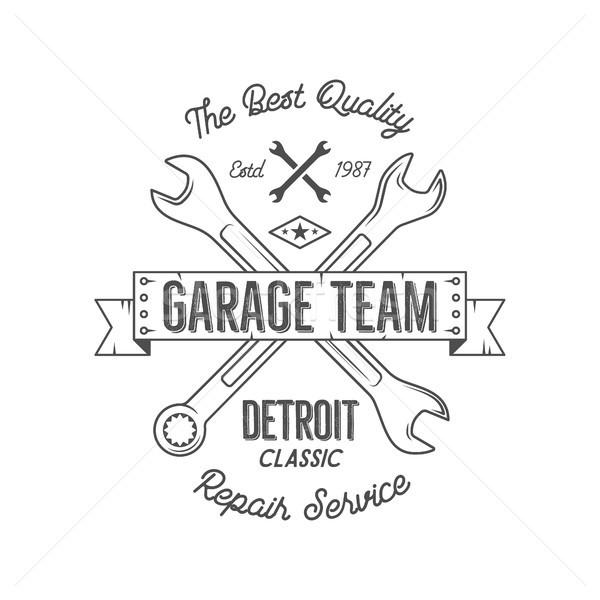 Garage service vintage tee design graphics, Detroit classic, repair  typography print. Black T-shirt Stock photo © JeksonGraphics